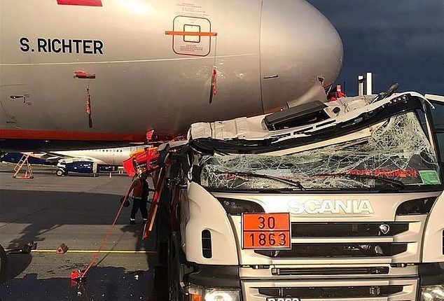 Fuel tanker crushed by Airbus A-321 aircraft at the airport
