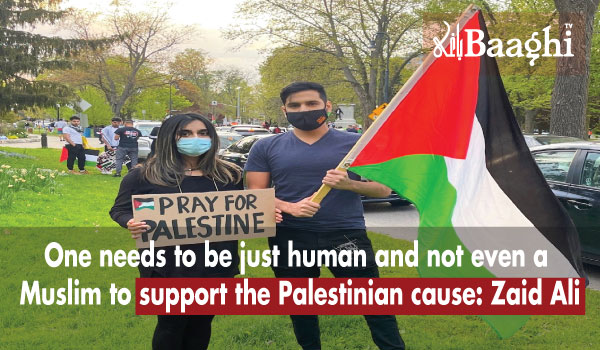 Zaid Ali and wife at a pro-Palestine rally in canada